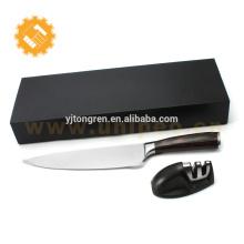 Facas de aço inoxidável de alto carbono faca linha de cozinha suíça conjunto com afiador de facas