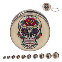 Day of the Dead Sugar Skull Steel Screw Fit ear plugs body piercing jewelry