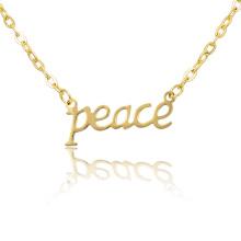 Mulheres Presente Lucky Letter Palavra Peace Gargantilha Colar