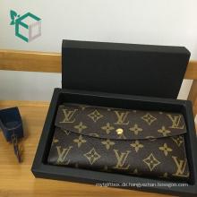 Populäre expereinced herstellung schubladen design metall druck schwarz falten geschenkbox für frauen geldbeutel