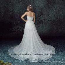 Short Front Back Long Detachable Tail Strapless Elegant Wedding Dress