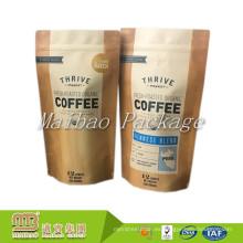 Empaquetado de la categoría alimenticia Custom 12oz Private Label Printing Standup Reellable hoja de la cremallera forrado Kraft Paper Coffee Bag con válvula