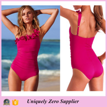 2016 Hot Sale Women Skinny One Piece Set Swimwear with Shoulder Slope Corsage Fabric Flower Bikini