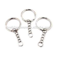 Fashion High Quality Metal 25mm Split Key Ring With Chain