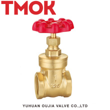 DN20 full port high quality good sale brass color double internal thread full open with red hand wheel brass gate valve