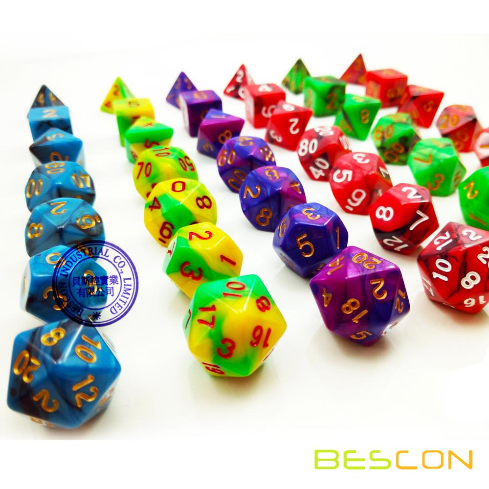Venta al por mayor Multi-color Gemini Polyhedral Dice, Polyhedral Dice Set, RPG Dice Set