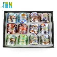 Mix Size Millefiori Silver Foil Lampwork Glass Rings 12pcs/box, MC1011