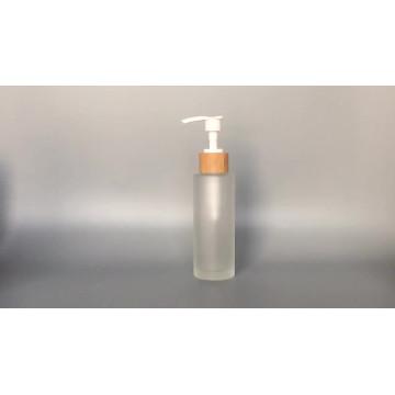 Оптовая Frost 150 мл 100 мл стеклянная бутылка с бамбуковым деревянным насосом распылителя лосьона Индивидуальные Сделано Косметическая упаковка