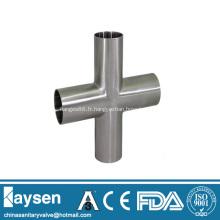Raccords de tuyaux croisés soudés sanitaires ISO / IDF