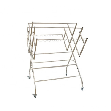 Custom Made Supermarket Unit White Clothing Drying Rack Metal Three Layers Clothes Rack