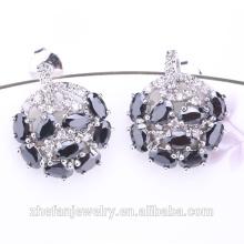 Nouveau noir cz diamant cuivre plaqué rhodium boucles d'oreilles