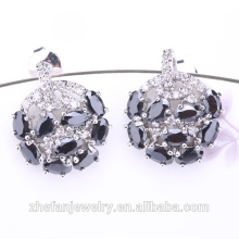 New black cz diamond copper rhodium plated earring studs
