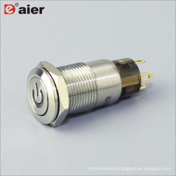 12mm Latching Illuminated PCB Power Pushbutton Switch Anti Vandal