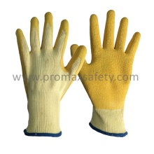 10 Gauge Beige Tc Shell Yellow Crinkle Latex Palm Coated Gloves
