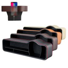 pu Leather multifunctional car seat gap filler organizer console side car seat crevice storage box