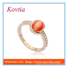 High fashion channel setting turkish gold red opal rings