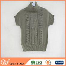 Suéter de verano de manga corta con cuello alto y diseño de ganchillo de mujer