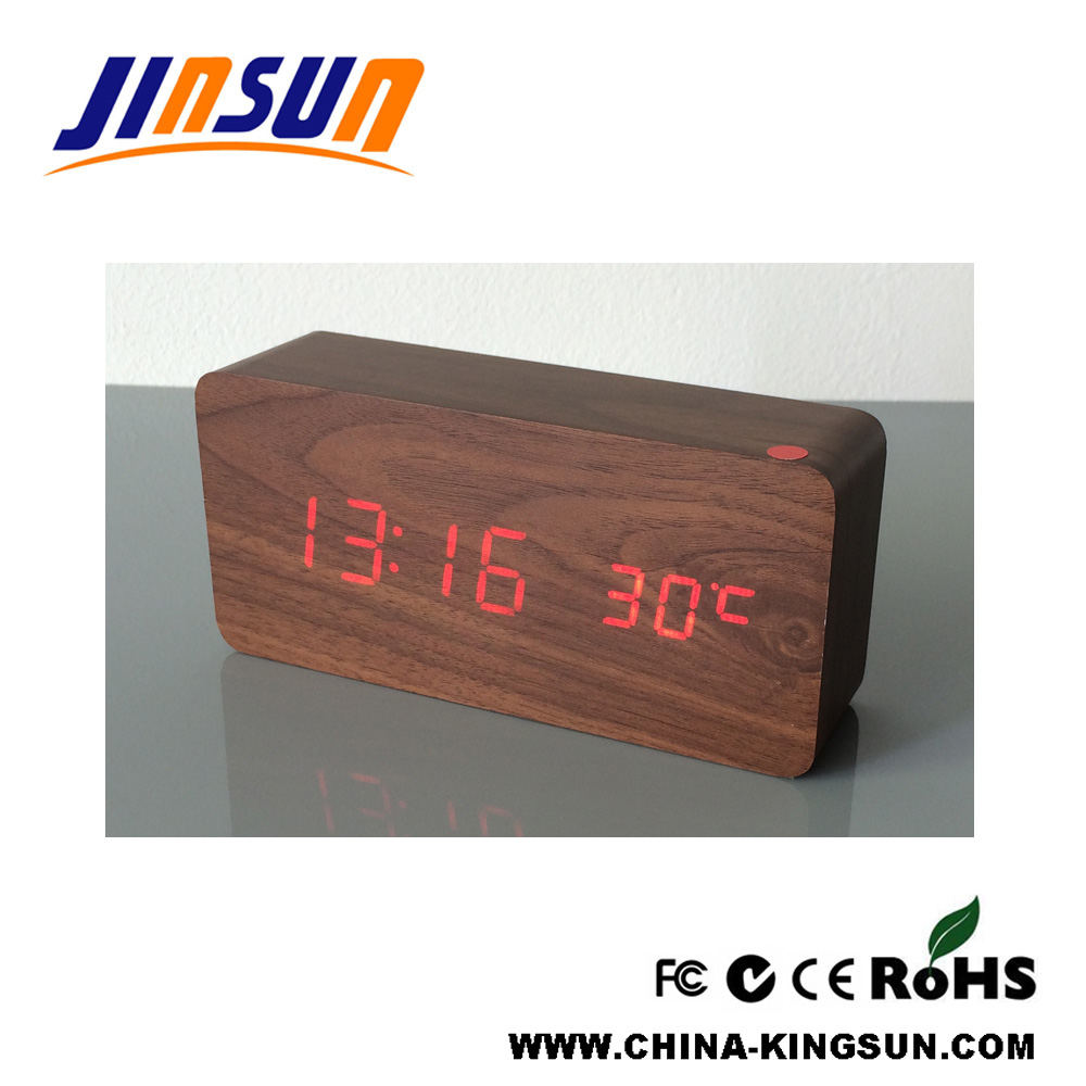 Bamboo Color Desktop Clock Alarm With Led Display