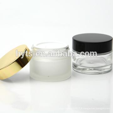 15ml 30ml 50ml pot de crème de verre transparent avec couvercle