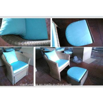 Rattan Sofa Chairs Cadeira de jardim com apoio de pés