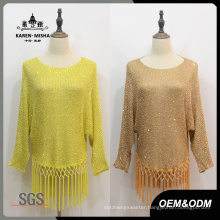Women Fashion Fringe Hem Sweater