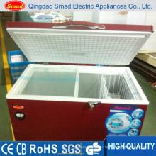 300L red color horizontal top open solid door chest freezer
