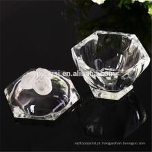 caixa de jóias de cristal com cristal rosa, girar jarro de cristal padrão