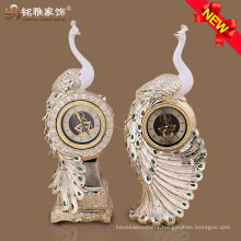 luxury design polyresin peacock desk clock for home ornament