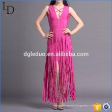 Europe fashion summer sleeveless women deep v neck tassels long dress