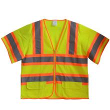Kurzarm Mesh-Reißverschluss hohe Sichtbarkeit reflektierende Sicherheit T-Shirt (YKY2804)