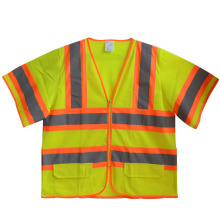 Short Sleeve Mesh Zipper High Visibility Reflective Safety T-Shirt (YKY2804)