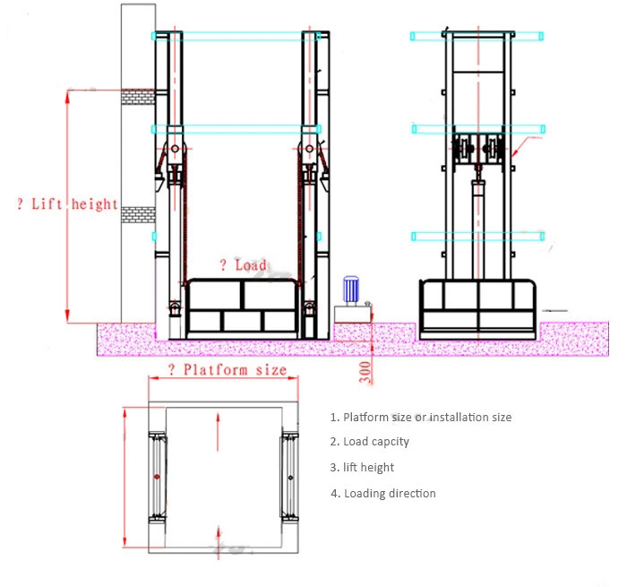 hydraulic warehouse cargo lift