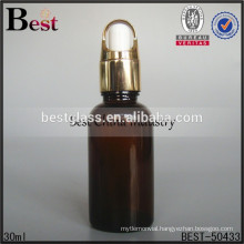 alibaba china essential oil bottle, wholesale amber oil bottle with gold basket dropper cap, custom made amber oil bottle for hk