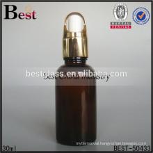alibaba china essential oil bottle, wholesale amber oil bottle with gold basket dropper cap, custom made amber oil bottle for hk