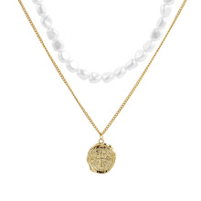 Simple irregular ancient coin pendant stainless steel chain gold plated pearl double layer necklace