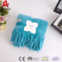 new style solid fringe classical soft thick flannel fleece blanket with tassel
