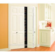 puerta moldeada blanca bi-plegable, puerta moldeada 6 paneles