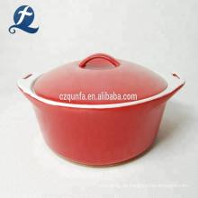 Benutzerdefinierte rote Farbe Custom Soup Pot Griff Keramik Auflauf Set mit Deckel
