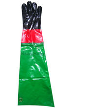 NMSAFETY PVC anti-oil and chemical use dotted on palm gloves with extra long cuff rain gloves
