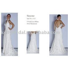 2011 Vestido de casamento romântico, roupas de noiva, laço francês.