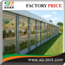 glass wall marquee 15m x30m with interior linings for outdoor wedding party events