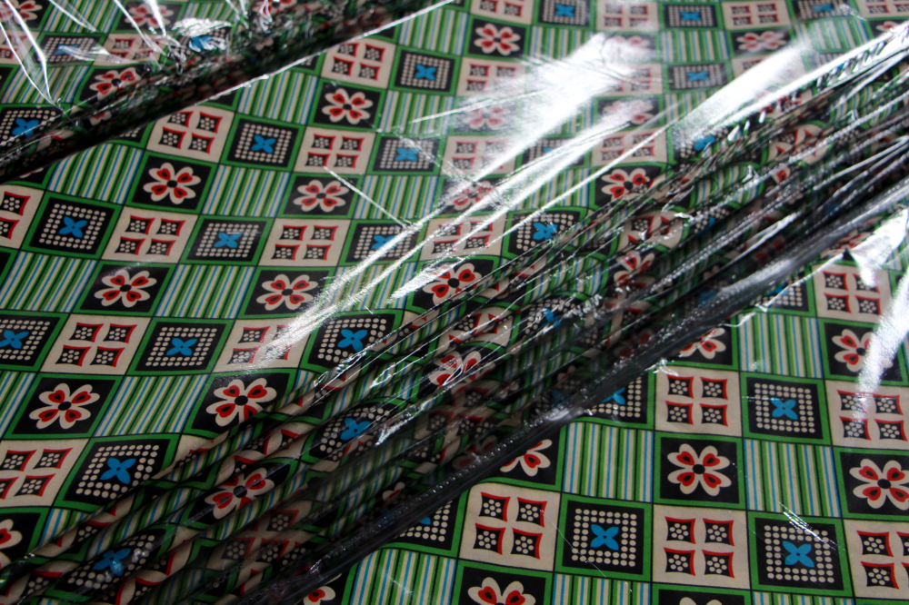 African wax fabric with stones