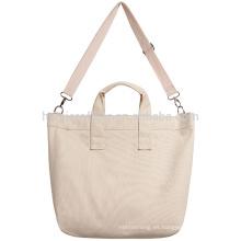 La bolsa de asas reutilizable impresa logotipo de la lona para las mujeres