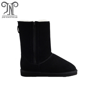Winter Warm sheepskin lined black Boots with Zipper
