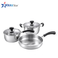 Stainless Steel Cookware Set with Bakelite Handles and knobs