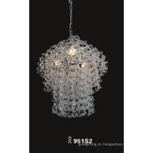 Transparente de aço carbono vidro decoração luz pingente (951S2)