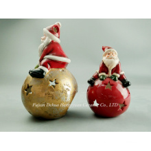 Ceramic Crafts for Christams, LED Lighted Santa Claus for Christmas Decoration