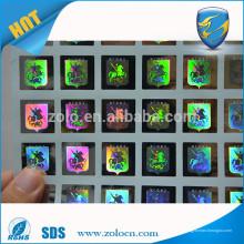 Etiquetas de adesivo de laser de círculo dourado / holograma certificado