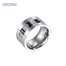 Stainless Steel Mens Wide Band Ring With Stones