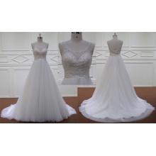 Robe de mariée sans manches en mousseline de soie perlée